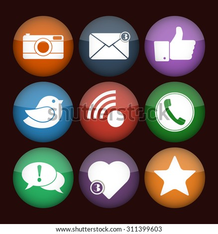 Communication and media Flat icons for Web and Mobile App. Vector social network icon set. Flat designs of camera, like, bird, telephone receiver, envelope, rss, star, heart and dialogue box. #311399603
