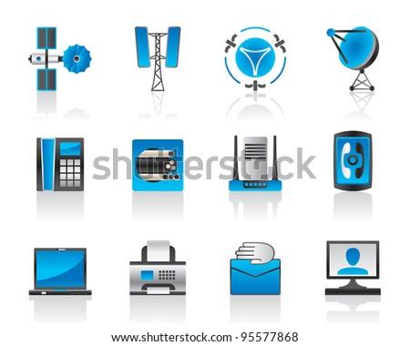 Communication and media icons set - vector illustration