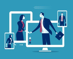 Communication and network concept. Business persons shaking hands through display. Business vector illustration