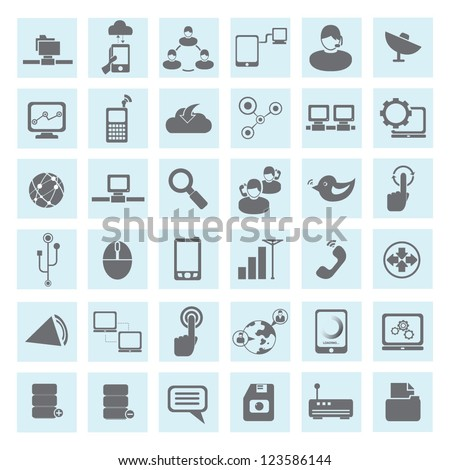communication and network icon set
