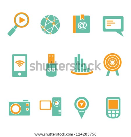 communication and social media icon set