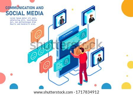 Communication and social media. Modern smart technologies. Vector detailed isometric illustration.