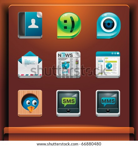 Communication and social networking. Mobile devices apps/services icons. Part 2 of 12