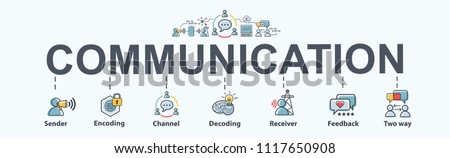 Communication banner web icon for business, sender, encoding, channel, decoding, receiver and feedback. Minimal vector infographic. Stockfoto ©