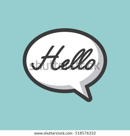 communication bubble with hello word  over blue background. vector illustration
