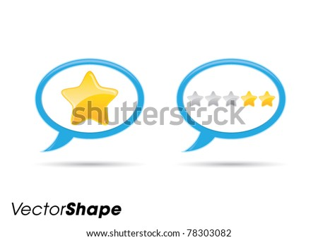 Communication bubble with stars web application icon, rating concept, vector illustration