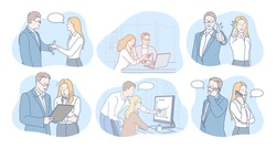 Communication, business, teamwork, marketing, agreement concept. Business people partners coworkers cartoon characters discussing projects, analysing marketing data, having brainstorming, negotiating