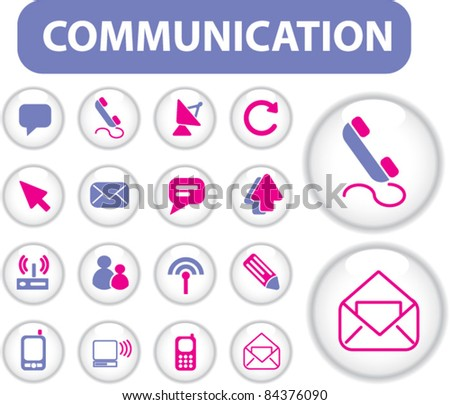 communication buttons, icons, signs, vector illustration set