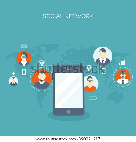 Communication,chatting.Flat style.Social media app,mobile instant messenger,web chat.International social network.Virtual communication and media sharing.Email message.Social media marketing strategy.