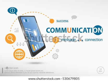 Communication concept and realistic smartphone black color. Infographic business for graphic or web design layout