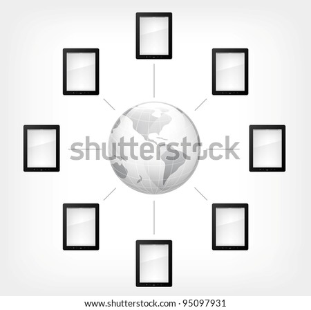 Communication Concept. Tablet PC on Grey Gradient Background. Vector.