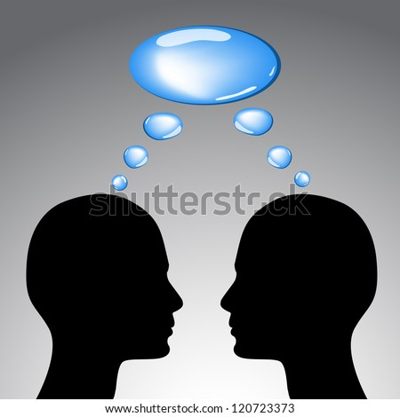 Communication concept - two heads and thoughts vector