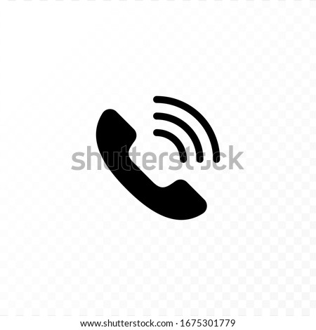 Communication concept. Vector flat outline icon illustration. Black and white isolated on transparent background. Phone call handset sign. Design element for web, ui, button, website, logo. Stock fotó ©