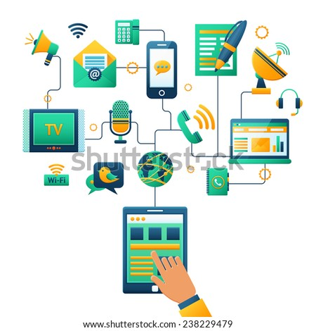 Communication concept with hand touching tablet and social media icons vector illustration
