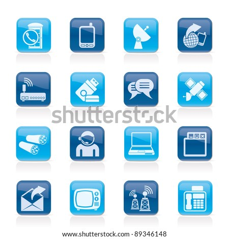 Communication, connection  and technology icons - vector icon set