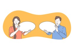 Communication, connection, chat concept. Young smiling woman and man cartoon characters holding white speech message chat bubble signs in hands. Online communication, message, reply, conversation