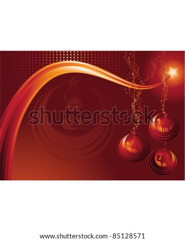 Communication Design for Christmas with nativity and Christmas balls elements