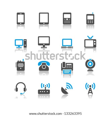 Communication device icons reflection theme