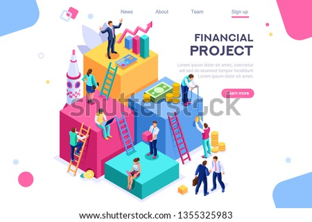 Communication, economy project, money investment card. Teamwork assistant concept. Interacting people. 3d isometric vector illustration.