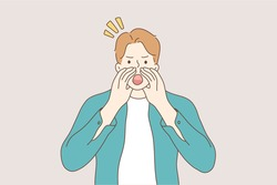 Communication, emotion, face, expression, advertising, promotion concept. Young worried angry man guy boy teenager character standing yelling shouting or screaming with hands on mouth illustration.