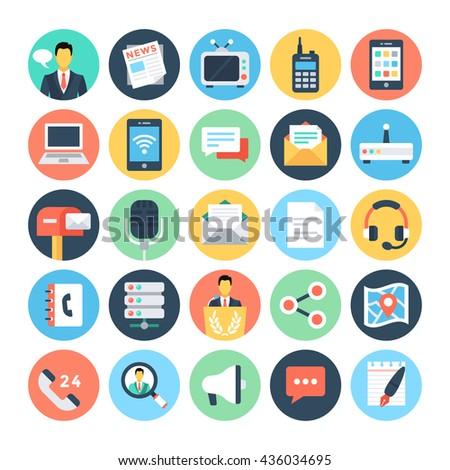 communication flat vector icons