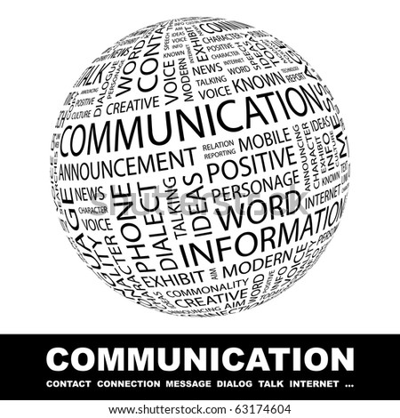 COMMUNICATION. Globe with different association terms. - stock vector