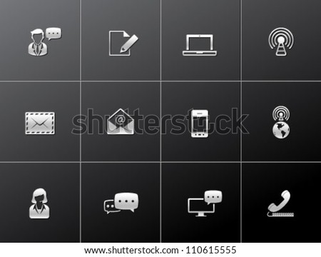 Communication icon series in metallic style
