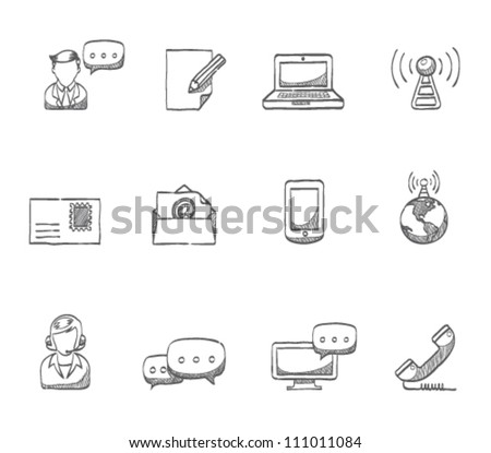 Communication icon series in sketch