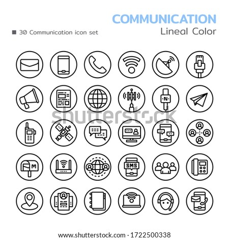 Communication icon set. Lineal style. Vector illustration. Foto stock ©