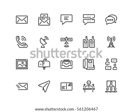 Communication icon set, outline style