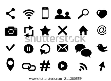Communication icon set with bird media wifi email cloud retweet hashtag facebook phone bubble  rss  photo  like profile home geolocation favorite search cursor logo  isolated illustration eps