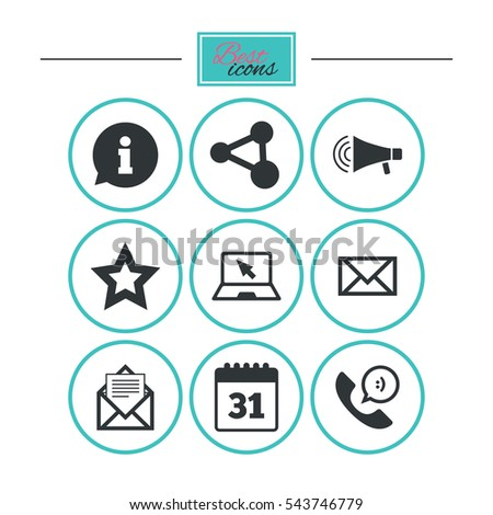 Communication icons. Contact, mail signs. E-mail, information speech bubble and calendar symbols. Round flat buttons with icons. Vector
