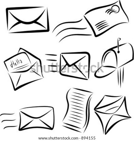Communication icons: Mail and Letters. - stock vector