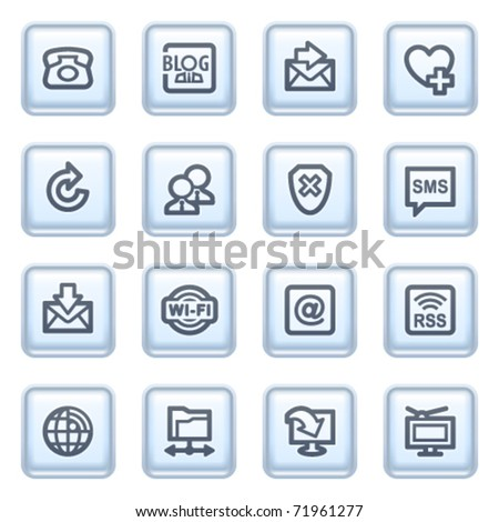 Communication icons on blue buttons. - stock vector