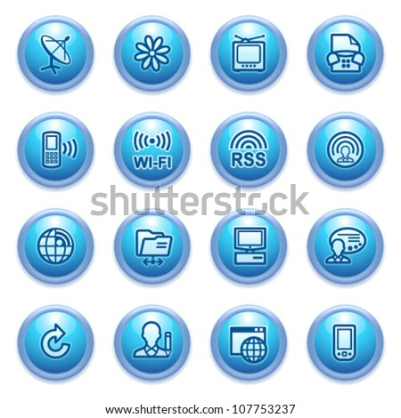 Communication icons on blue buttons, set 2.