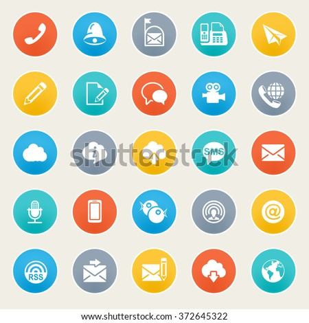 Communication icons on color stickers.