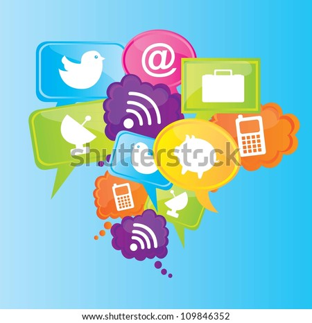Communication icons over blue background vector illustration
