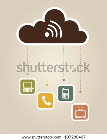 communication icons over vintage background. vector