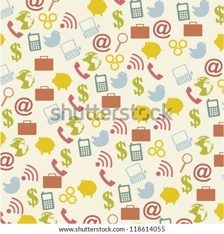 communication icons over vintage over background. vector