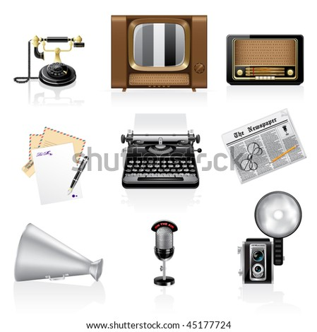 Communication icons. Retro style