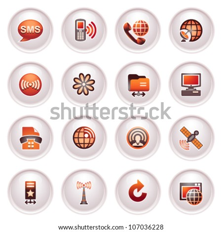 Communication icons set 2. Black red series. - stock vector