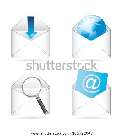 communication icons with shadow. vector illustration