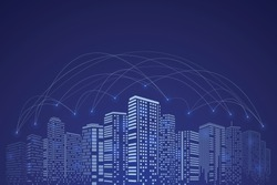 Communication in Digital city and network connection, Blue sky background. Business concept.