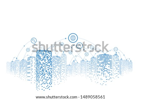 Communication in digital or smart city, Social network connections, Business technology concept.
