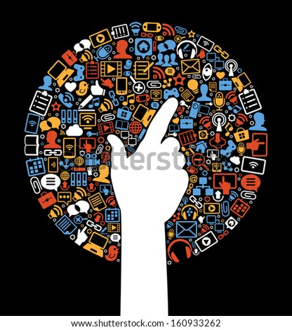 Communication in the global computer networks. Silhouette of a man's hands surrounded interface icons. Social media background in the form of a tree