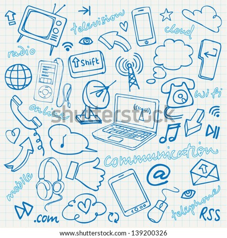 Communication & internet doodles vector