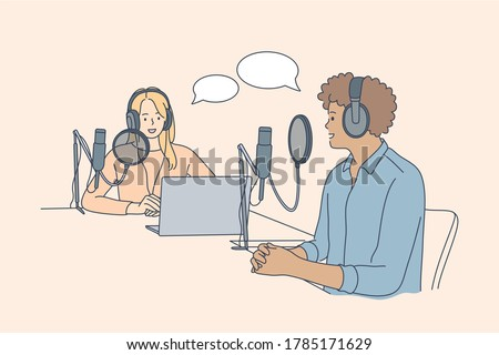 Communication, interview, conversation, podcast concept. Young happy man and woman radio hosts characters podcasters talking communicating in studio. Interviewing guest or mass media work illustration