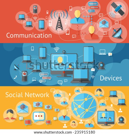 Communication line banners set with social network devices elements isolated vector illustration