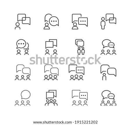 Communication line icon set. teamwork, collaboration, business icon Foto stock ©