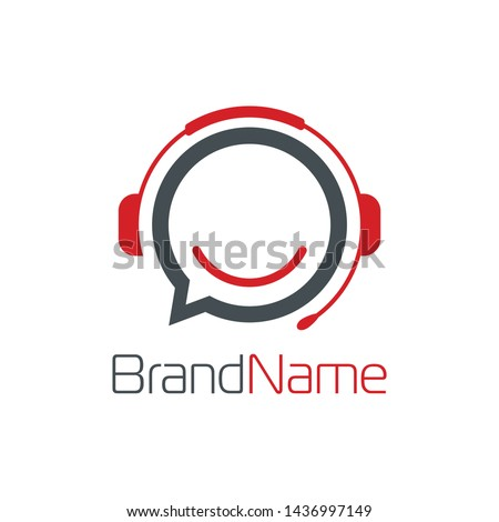 Communication logo formed headset and bubble chat with simple and modern shape